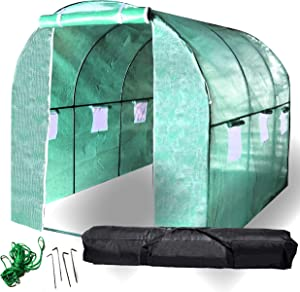 BACKYARD EXPRESSIONS Patio · Home · Garden 911219 Greenhouse Walk in Tunnel Tent  10'x7'x7' Portable Hot House for Plants, Flowers, Herbs   Bonus Carry Bag for Transporting/Storage
