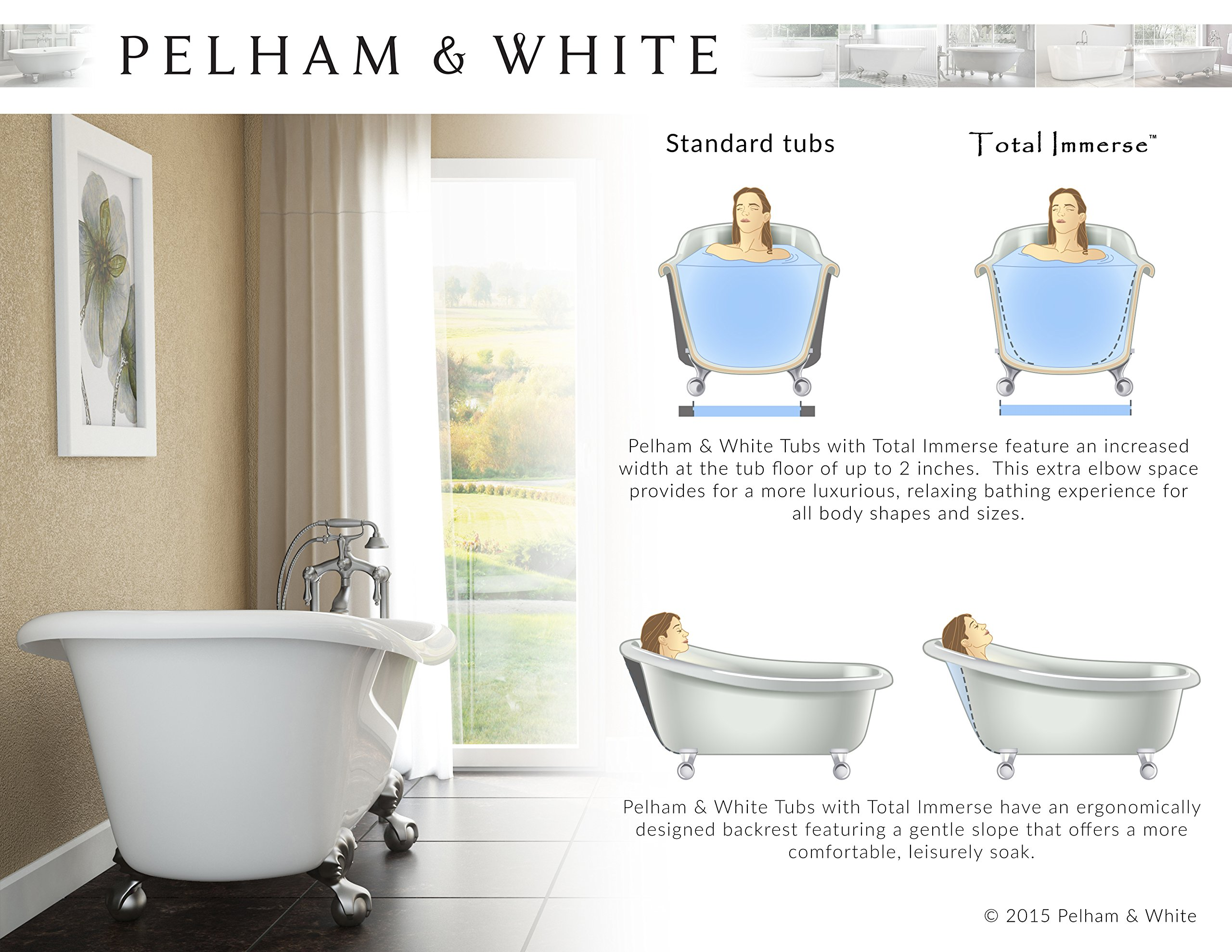 Luxury 60 inch Modern Clawfoot Tub in White with Stand-Alone Freestanding Tub Design, Includes Modern Brushed Nickel Cannonball Feet and Drain, From The Brookdale Collection by Pelham & White (Image #9)