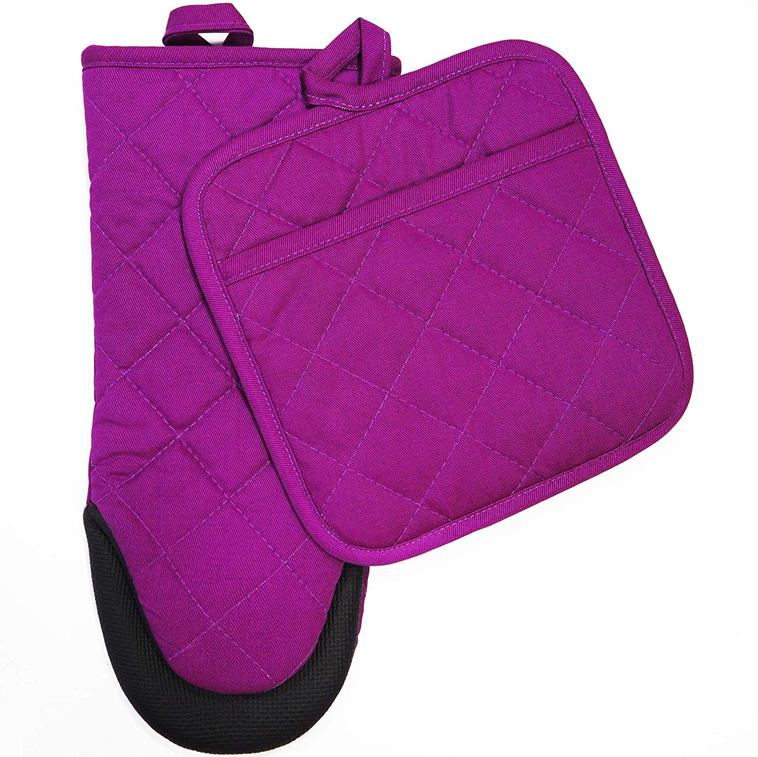 RED LMLDETA Cotton Oven Mitt Pot Holder Kitchen Set with Neoprene Non-Slip Grip, Heat Resistant, 2pcs Set (Neoprene Rubber, Purple)