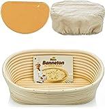 Oval Bread Banneton Proofing Basket - 10 Inch Baskets Sourdough Brotform Proofing Basket Set Banaton Towel for Baking Oval Proofing for Sourdough Bread Making Starter Jar Kit - Great As A Gift