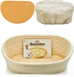 Oval Bread Banneton Proofing Basket - 10 Inch Baskets Sourdough Brotform Proofing Basket Set Banaton Towel for Baking…