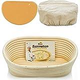 Oval Bread Banneton Proofing Basket - 10 Inch Baskets Sourdough Brotform Proofing Basket Set Banaton Towel for Baking Oval Pr