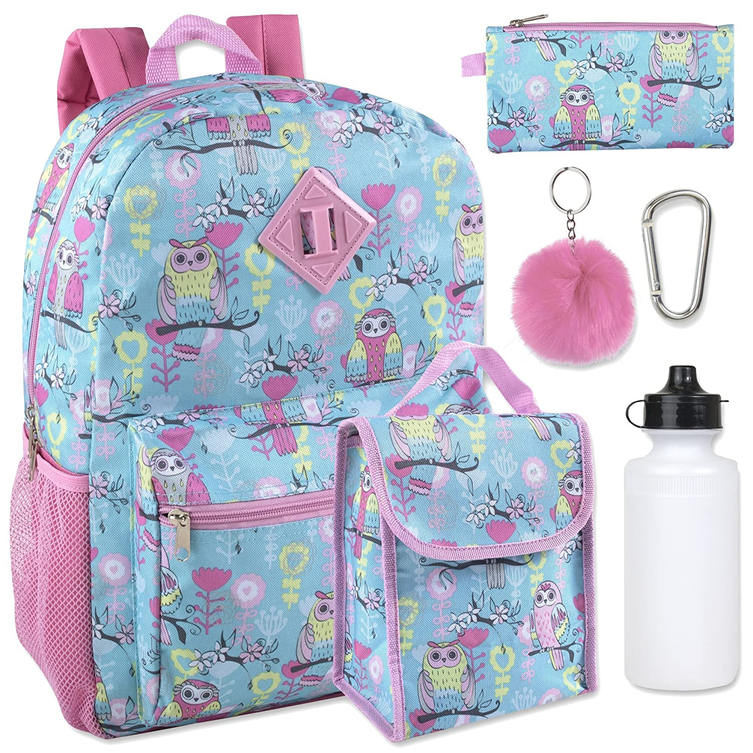Girl's 6 in 1 Backpack Set With Lunch Bag, Pencil Case, Bottle, Keychain, Clip Clip (Emoji)