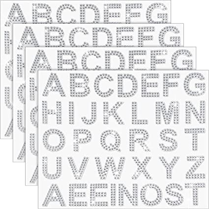 Amazon.com: 136 Pieces Large Glitter Rhinestone Alphabet Letter Sticker and Crystal Gemstone Border Sticker, 34 Letters Self-Adhesive Sticker Iron-on Rhinestone Letter Sticker for Art Craft Decor (Silver): Arts, Crafts & Sewing