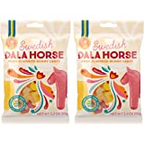 Candy People 100% Swedish Dala Horse Fruit Flavored Gummy Candy - Citrus, Pineapple, Raspberry Fruit Flavors - Gluten and Gelatin Free - 2-Pack