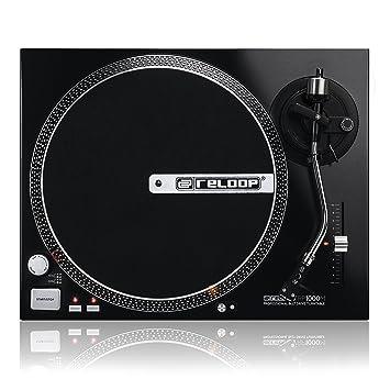 Tocadiscos DJ Reloop RP-1000M - Con motor de transmisión por correa, con rango de tonos (+/- 10 %), (metálico negro)