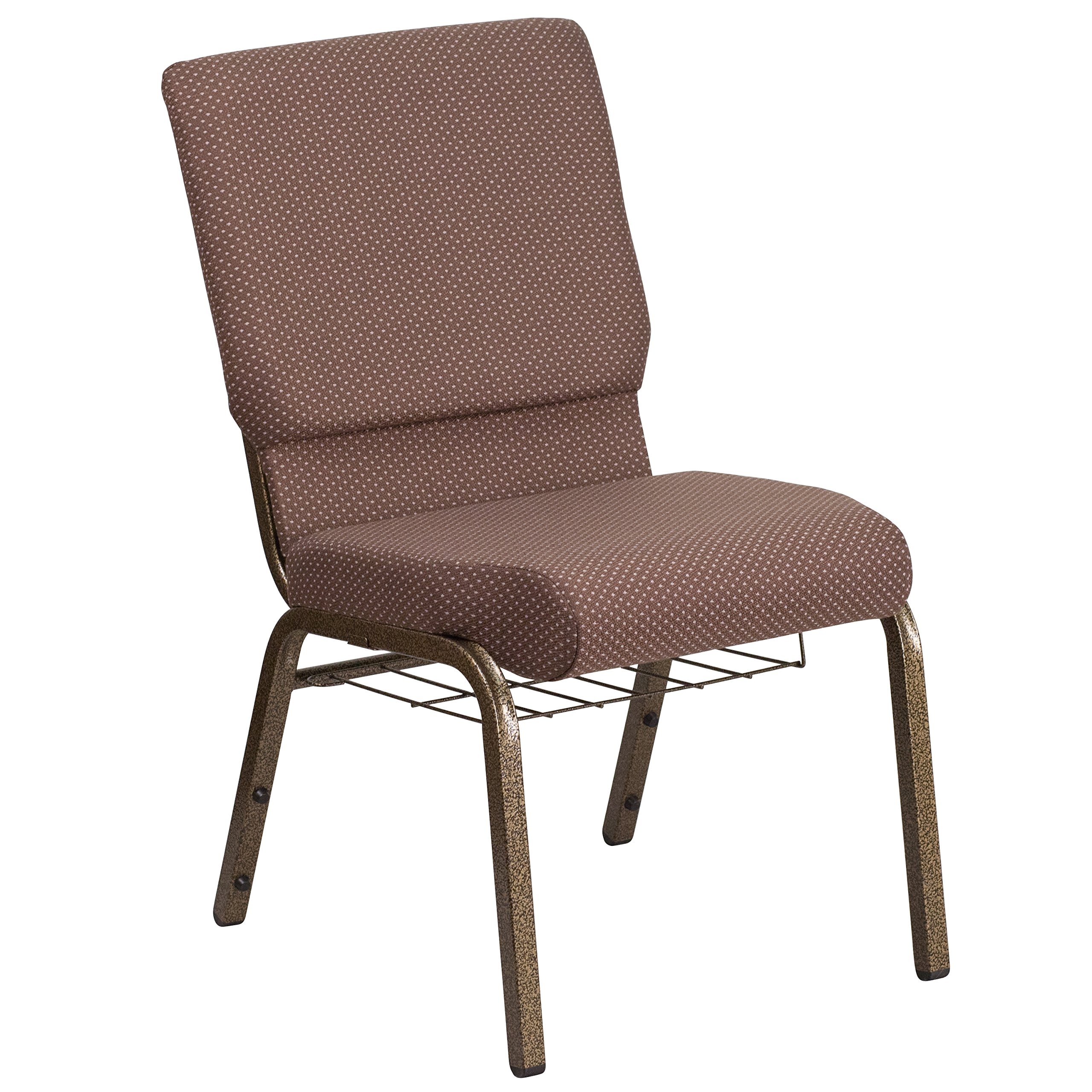 MFO Industrial Strength 18.5''W Brown Dot Fabric Church Chair with 4.25'' Thick Seat, Book Rack - Gold Vein Frame