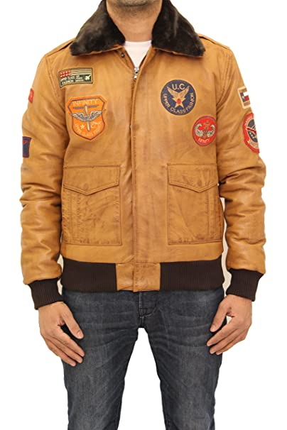 A to Z Leather Clsico A-2 Hombres Placas Bombardero de Piel de Oveja Chaqueta