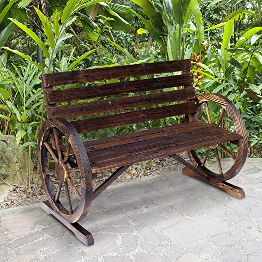 Country Rustic Solid Wood Wagon Wheel Garden Bench Patio Outdoor Porch Brown