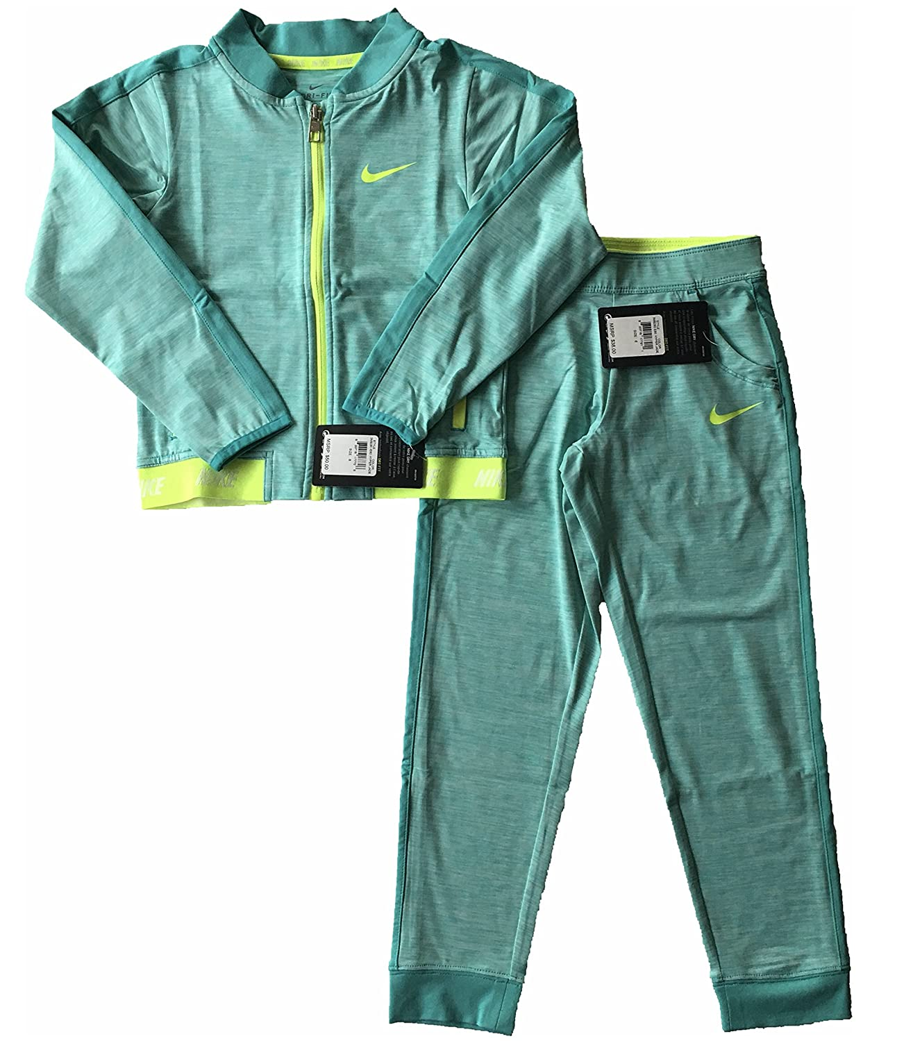 Nike Girls 2 Piece Full-Zip Active Jacket and Pants Size 6 Green