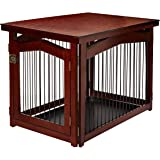 Merry Pet 2-in-1 Configurable Pet Crate and Gate, Brown, Medium