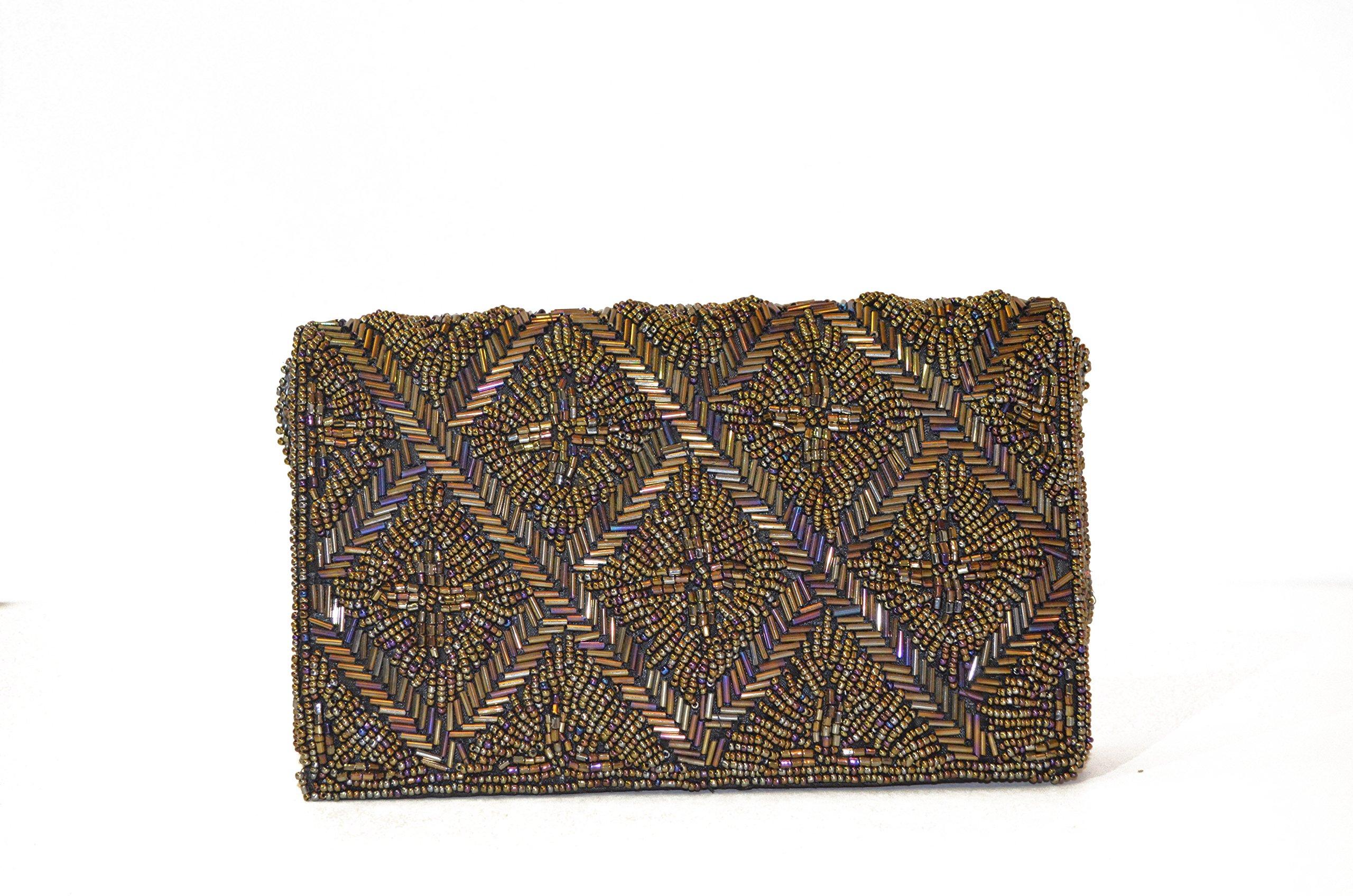 Sunny&Shining Handmade Beaded Crossbody Handbag Evening Clutch Party Purse (Short) (square)