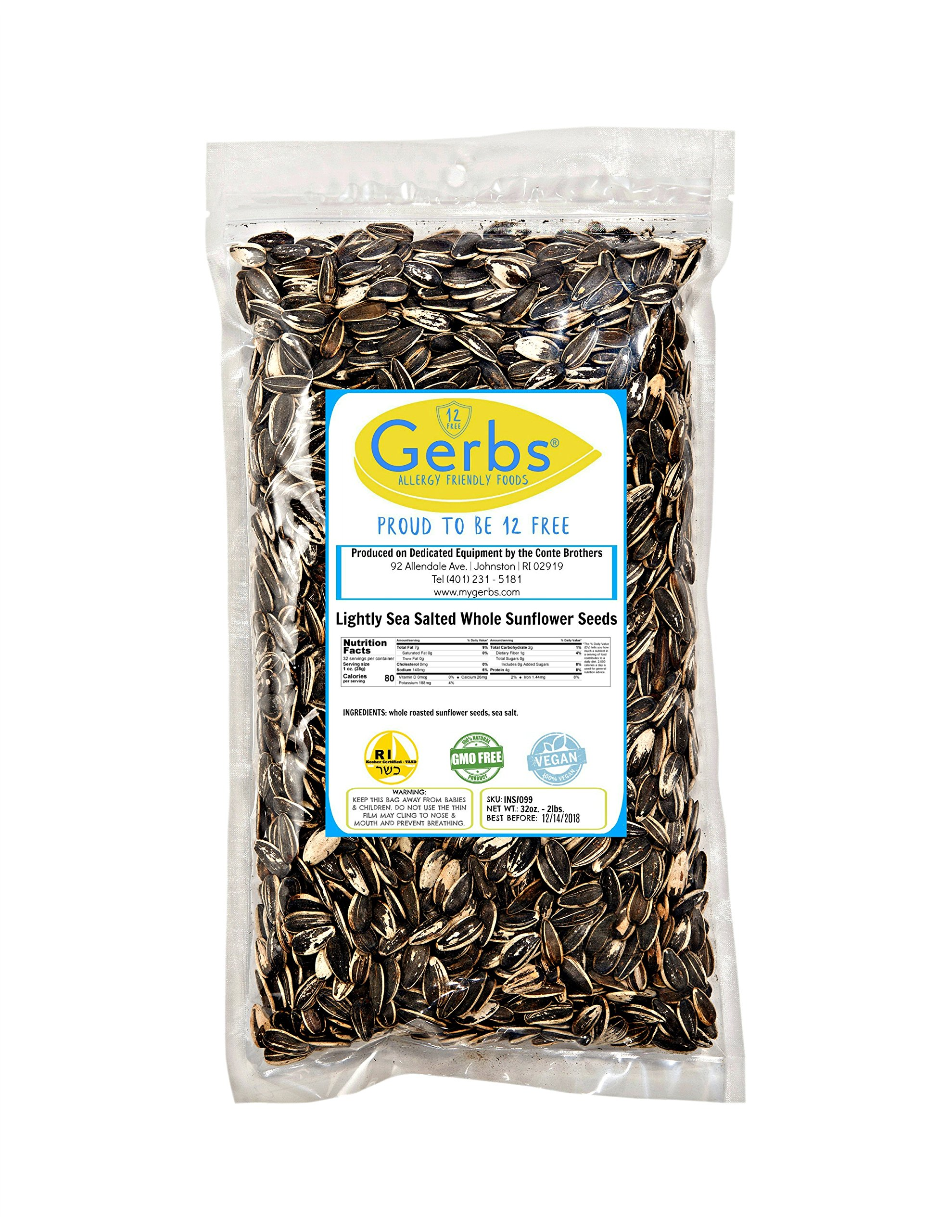 Lightly Sea Salted Sunflower Seed In Shell by Gerbs - 2 LBS - Top 11 Food Allergen Free & Non GMO - Premium Dry Roasted Seeds – COG USA