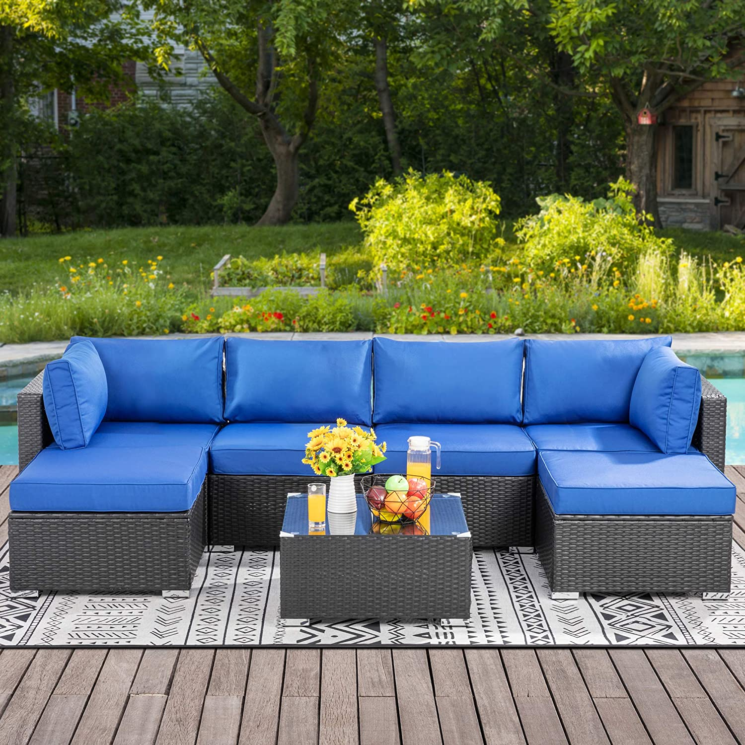 Walsunny 7pcs Patio Outdoor Furniture Sets,Low Back All-Weather Rattan Sectional Sofa with Tea Table&Washable Couch Cushions&Ottoman (Black Rattan (Navy Blue)
