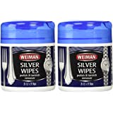 """Weiman Silver Wipe 2-Pack(40 wipes total), Size: 5.5""""x 7.9"""