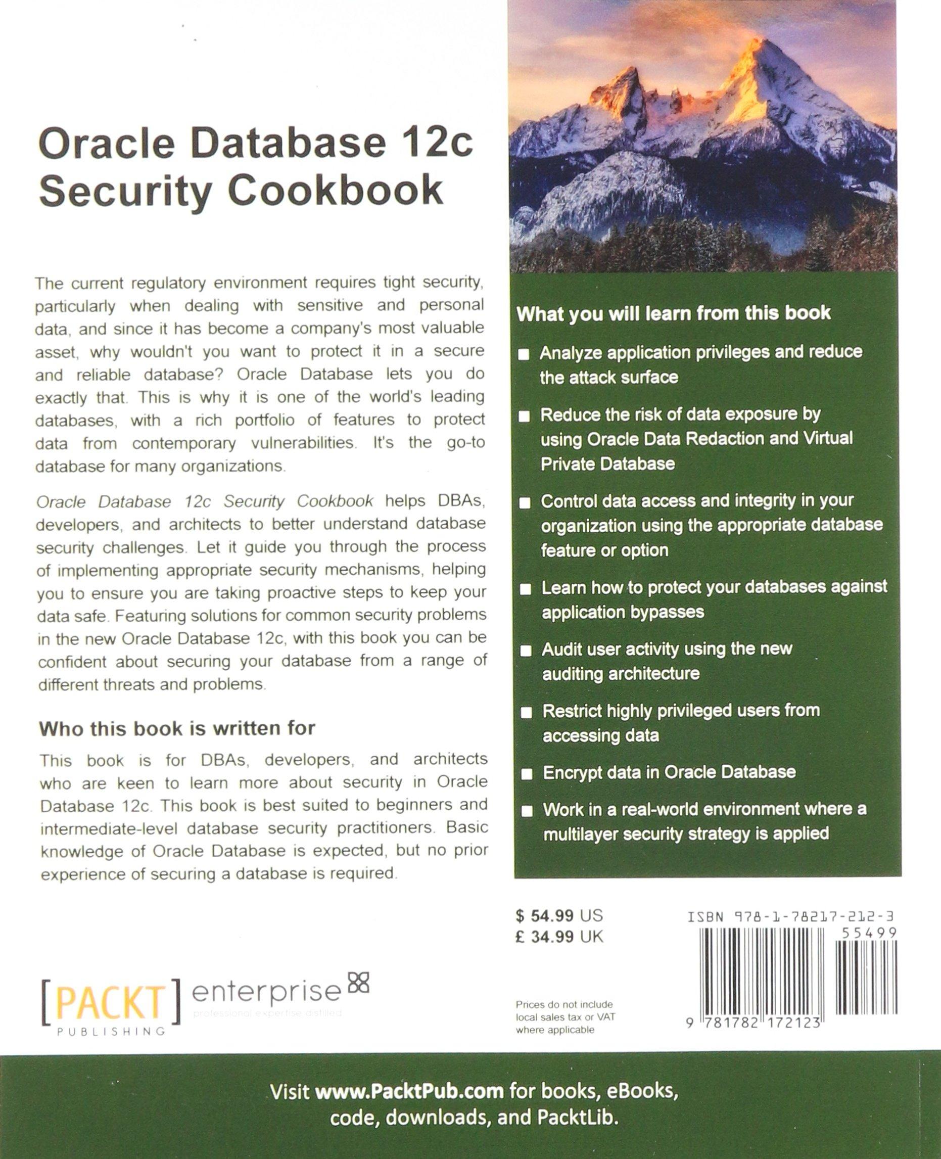 Oracle Database 12c Security Cookbook Zoran Pavlovic Maja Veselica And Auditing 9781782172123 Books