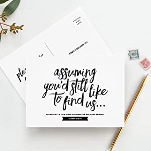 Bliss Collections Moving Announcement Postcards, Pack of 50 Funny Post Cards to Notify Family and Friends We've Just Moved and Change of Address - Don't Forget These Essential Moving Supplies
