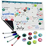 "Magnetic Dry Erase Calendar for Refrigerator 16""x12"" - Family Monthly Planner Whiteboard 
