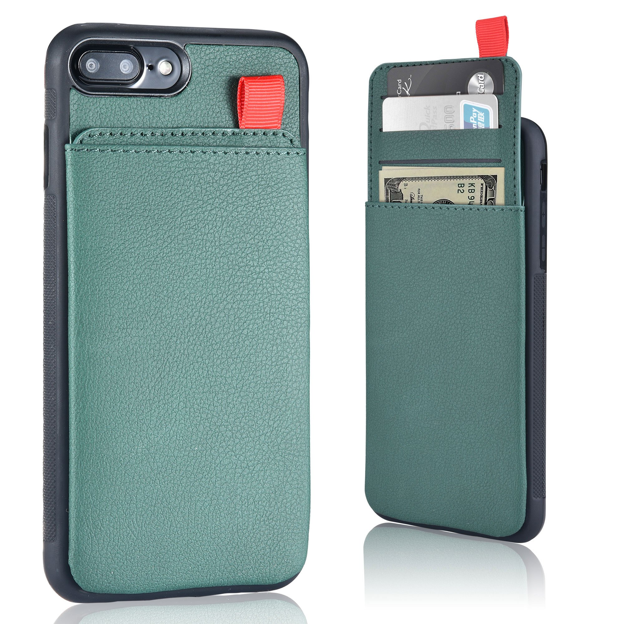 MANGATA TRITON Leather Wallet case compatible with iPhone 8 Plus, iPhone 7 Plus | Hidden Wallet Pocket, Rugged Shell | Cruelty Free Leather | Credit Card Holder, Cash Pocket, Screen Protector (Olive)