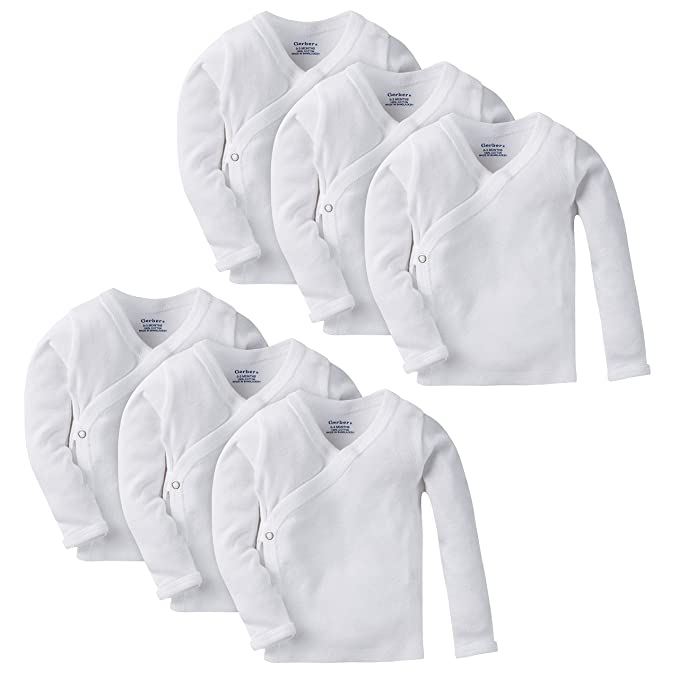 befe5be8e Image Unavailable. Image not available for. Color: Gerber Baby 6-Pack Long-Sleeve  Side-Snap Shirt, White, 0