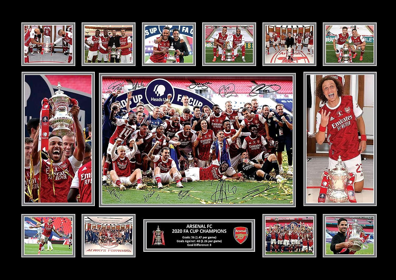 Techland13 ARSENAL FC 2020 FA CUP CHAMPIONS SIGNED A4 PHOTO PRINT FOOTBALL MEMORABILIA