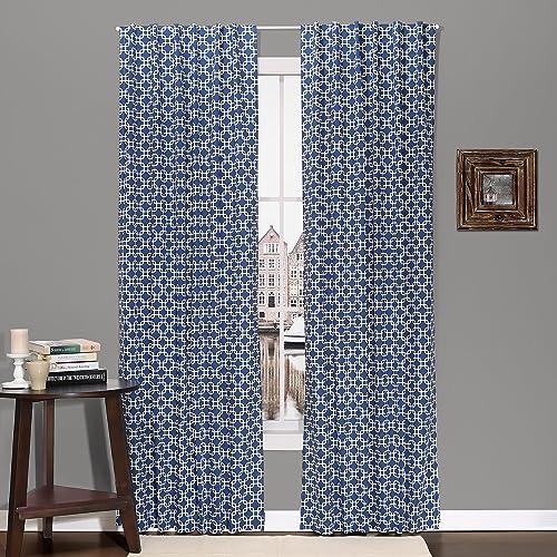 Navy Geometric Print Blackout Window Drapery Panels – Two 84 by 42 Inch Panels