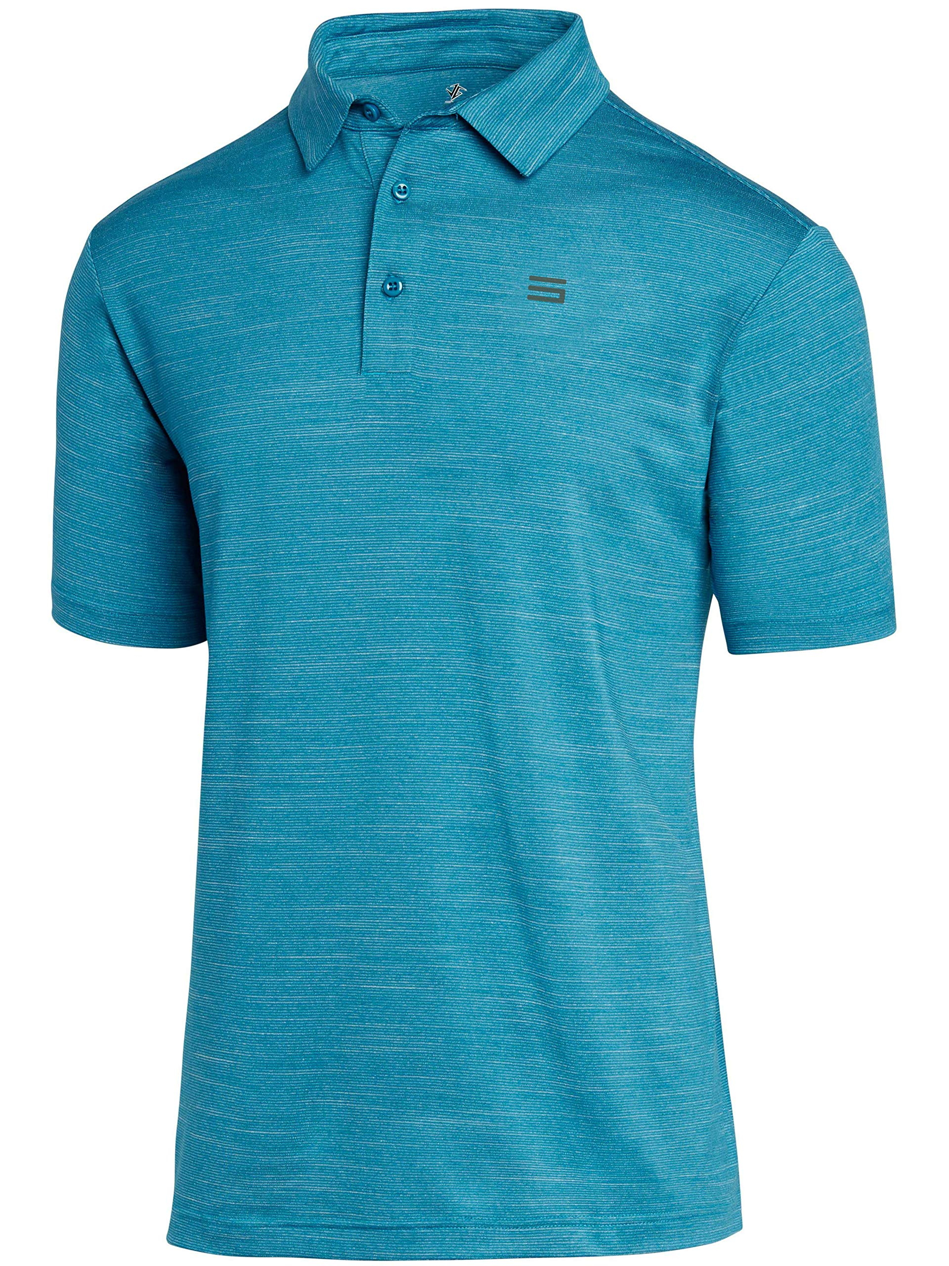 Three Sixty Six Golf Shirts for Men - Dry Fit Short-Sleeve Polo, Athletic Casual Collared T-Shirt Aqua Blue by Three Sixty Six
