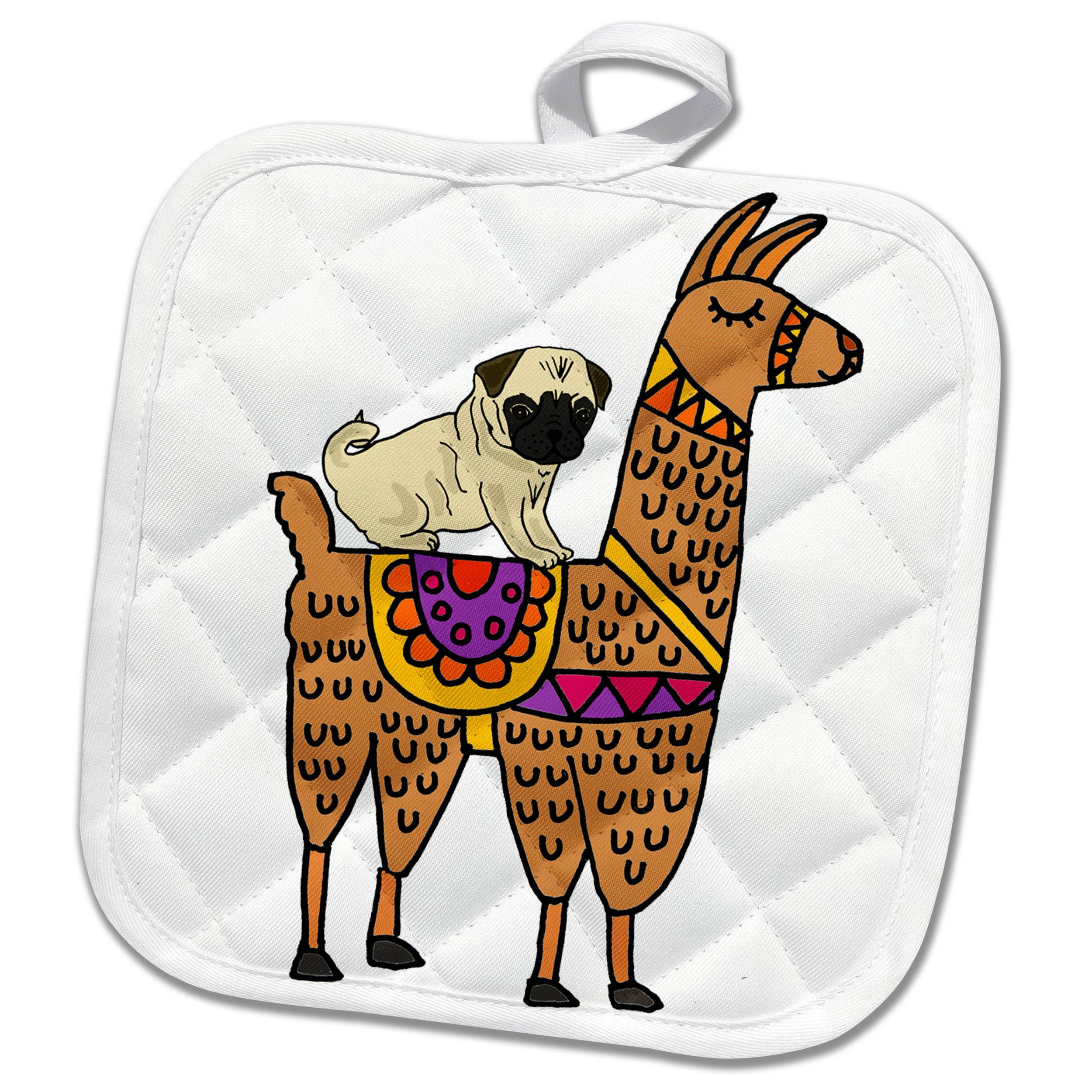 3dRose phl_270099_1 Pot Holder Cool Humorous Pug Dog Riding llama Cartoon, 8 by 8'' by 3dRose