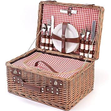 Panier pique-nique complet vaisselle en porcelaine 4 personnes panier en osier Panier pique-nique panier en osier osier pique-nique panier pique-nique (LYP1801, rouge)