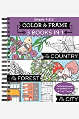 Color & Frame - 3 Books in 1 - Country, Forest, City (Adult Coloring Book) Spiral-bound