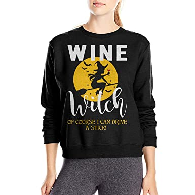 Amazon.com  Wine witch Of Course I Can Drive A Stick Shirt - Halloween  Sweatshirt Hoodie For Women  Clothing 1d65a2aca