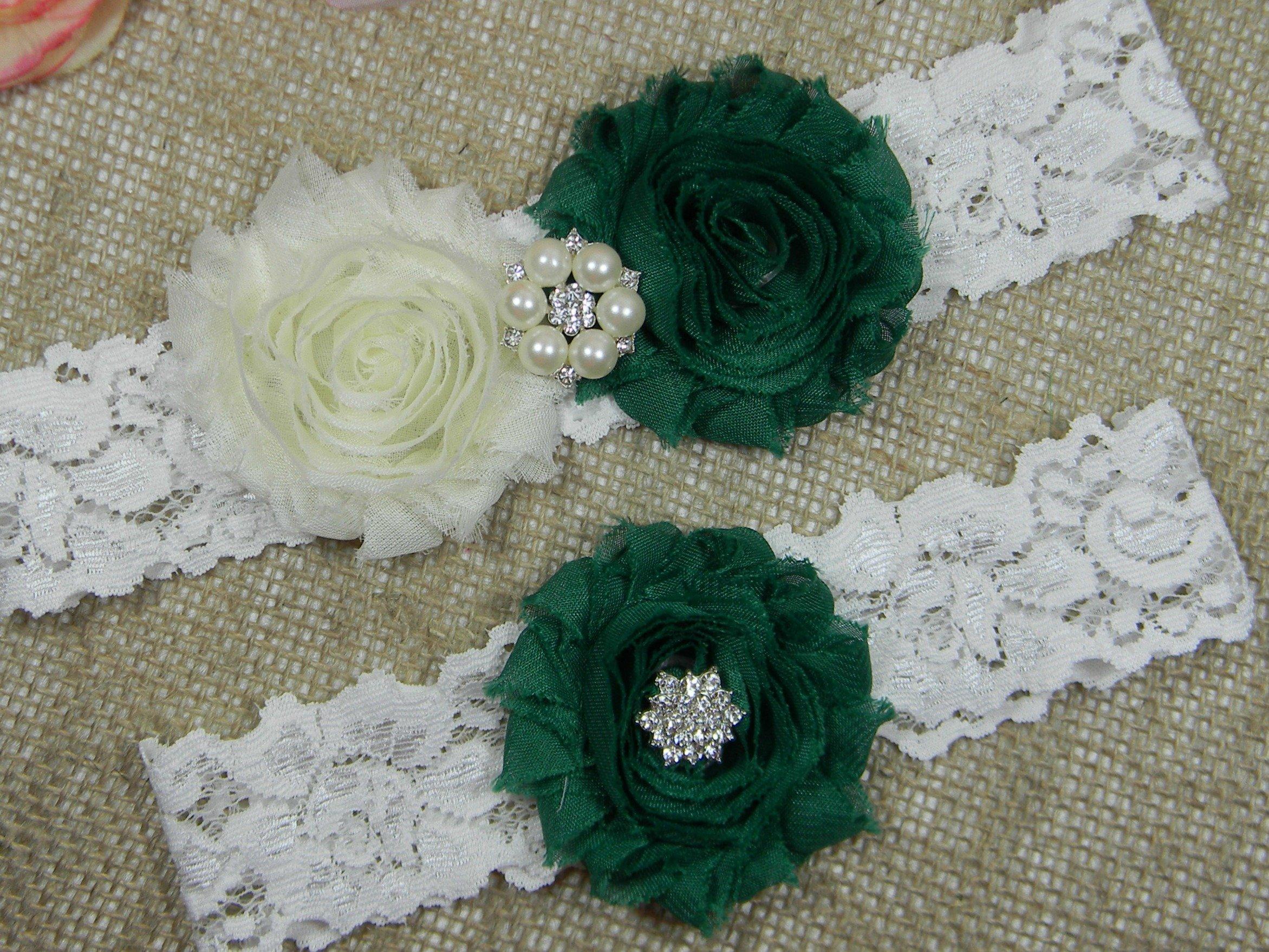 Wedding Garter Set, Bridal Garter Belt, Ivory and Dark Green Garter, Keepsake and Toss Stretch Lace Garters by PCB Studio