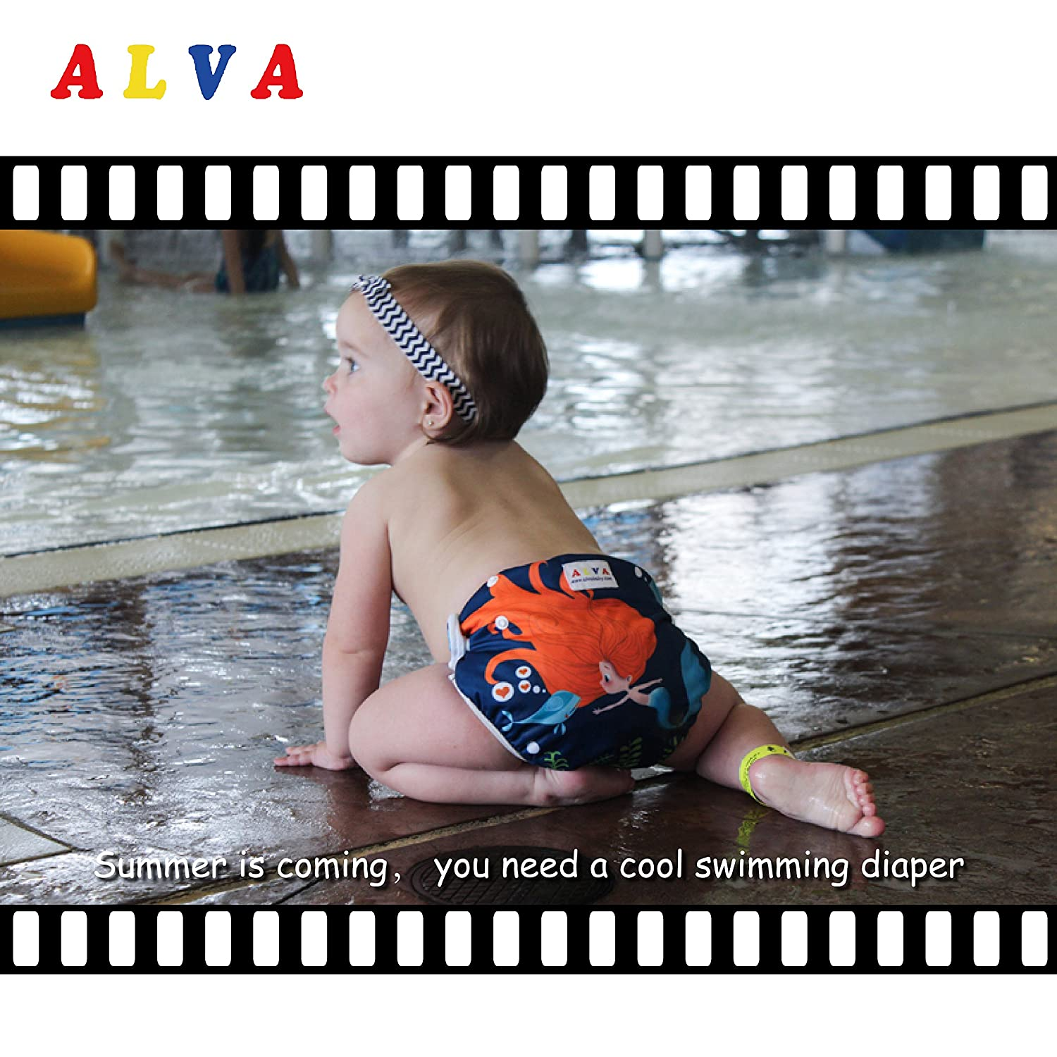 Alva Baby 2pcs Pack One Size Reuseable Washable Printed and Positioning Swim Diapers SWD25-26-CA Alvababy
