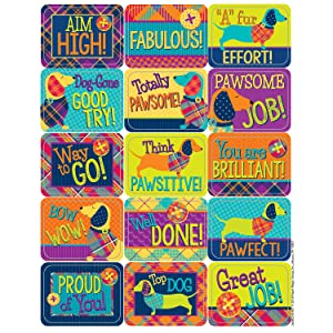 Eureka Plaid Multicolor Dog Themed Motivational Stickers for Kids, 120pcs, 1.5'' x 1''