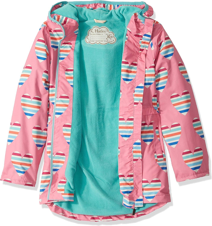 Hatley Kids Girls Multicolour Hearts Microfiber Rain Jacket Toddler//Little Kids//Big Kids