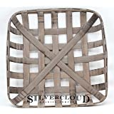 "Silvercloud Trading Co. Tobacco Basket, Farmhouse Decor, Sml 17"" Square"