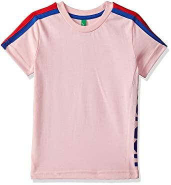 e739c9d4 United Colors of Benetton Boys' Quilted Regular Fit T-Shirt  (18A3CPC0AU11I_19C_2Y_Coral Blush(