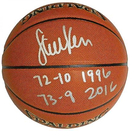 33fc72437 Steve Kerr Signed Ball - Spalding Indoor Outdoor w 72 10 1998 73 9 2016 -