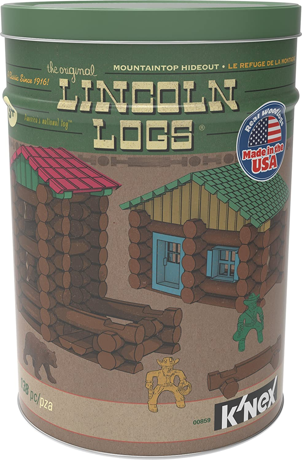 Lincoln Logs Mountaintop Hideout Classic Real Wood Building Set (138 Pieces) by Lincoln Logs