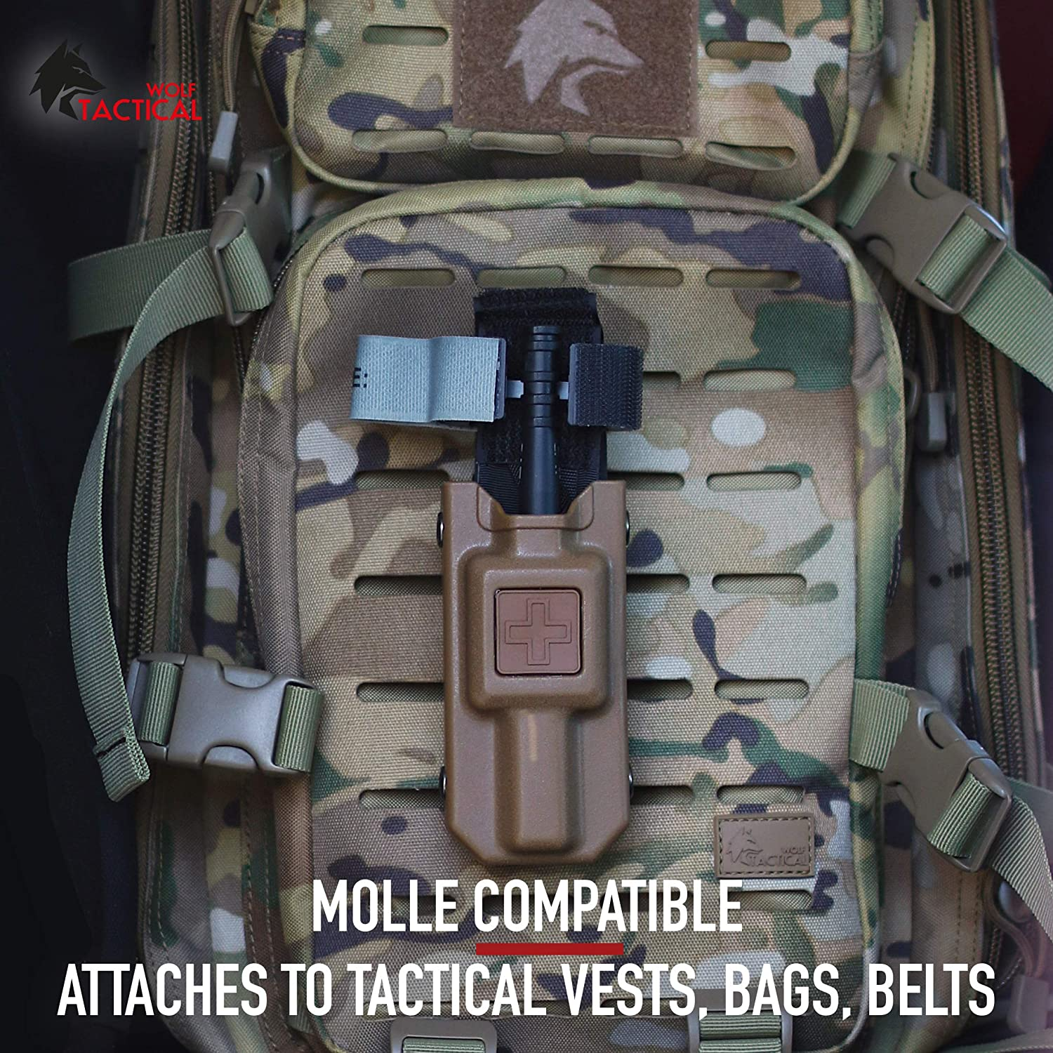 Rigid MOLLE TQ Case or CAT Combat Application Tourniquets Medical Emergency Accessory for Backpacks Vests Belts Bags WOLF TACTICAL Tourniquet Holder