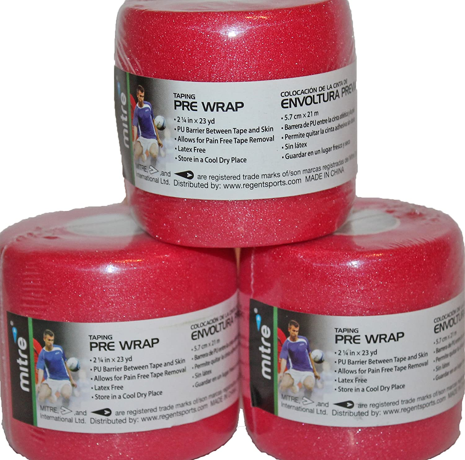 Amazon.com: 3 PK RED Rolls PreWrap Pre-Wrap Athletic Sport Tape Taping Hair Tie 23 yds each (Red): Health & Personal Care