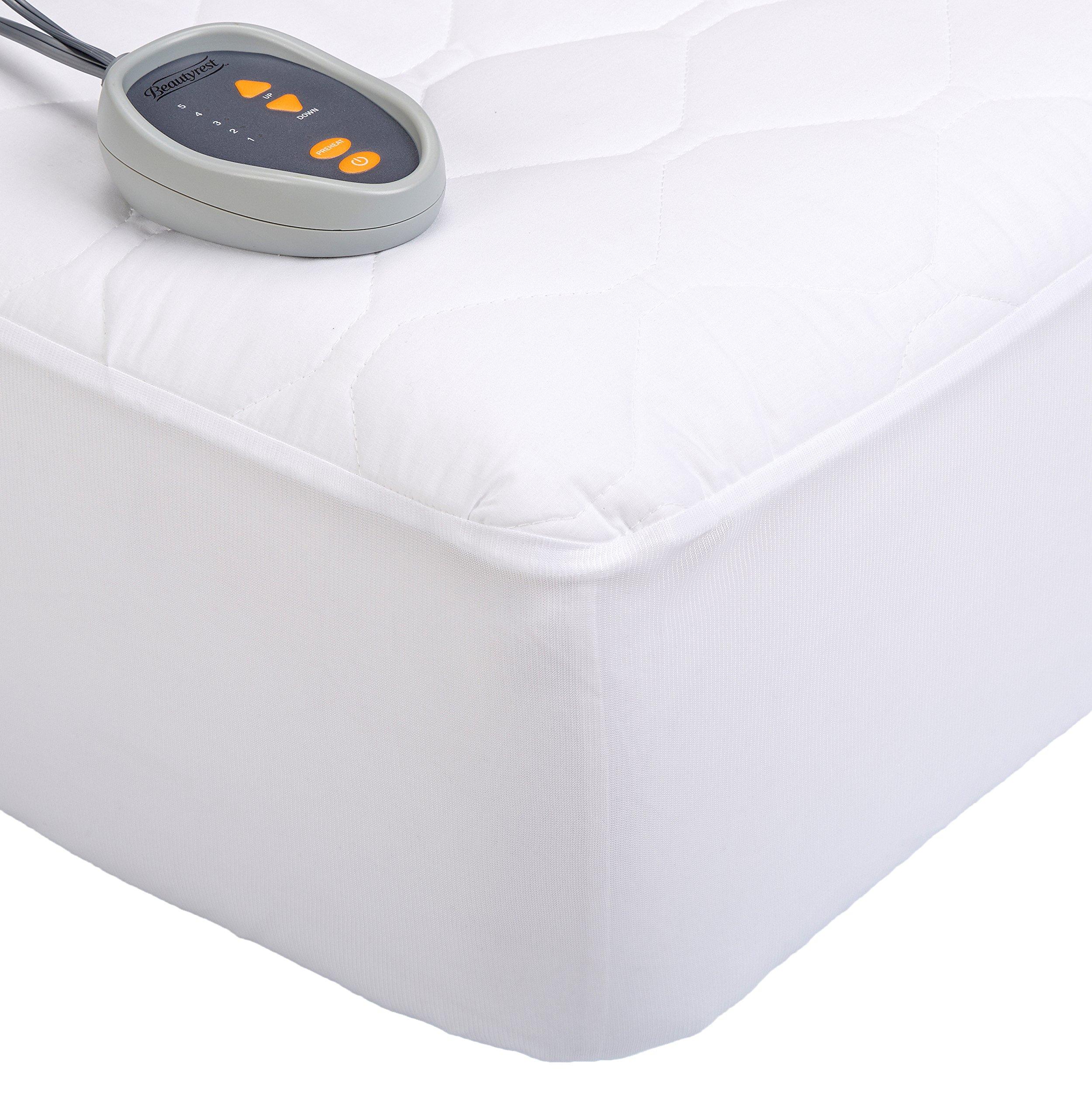 Beautyrest Down 200-Thread Count Cotton Blend Heated Mattress Pad, King, White