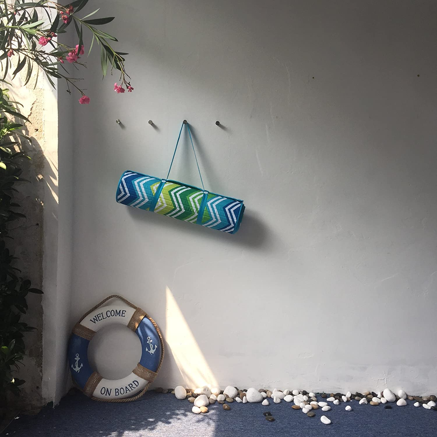 roll up beach mat with carry strap pillow wave wave