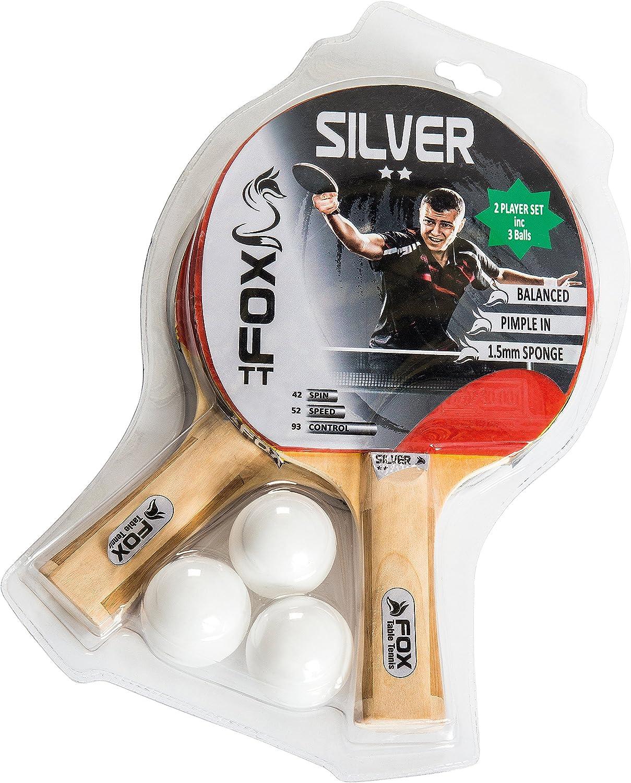 Fox TT – Juego de 2 Raquetas de Tenis de Mesa Unisex de 2 Estrellas de Color Rojo