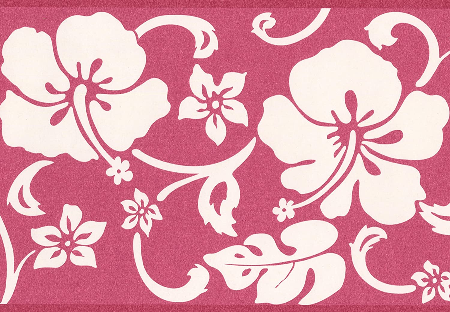 Abstract Floral Modern Wallpaper Border White On Red Design Roll