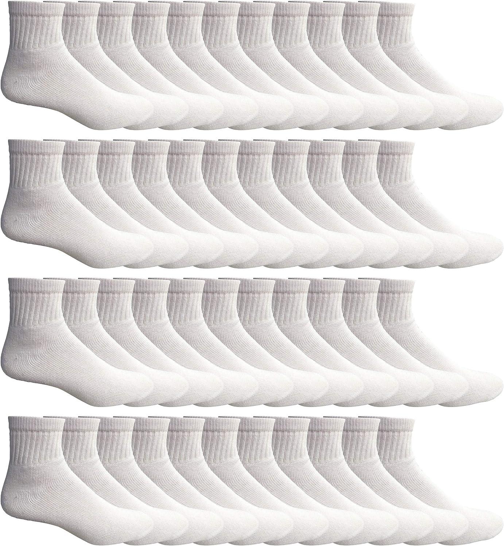 """SOCKS'NBULK 60 Pairs Wholesale Bulk Sport Cotton Unisex Crew, Ankle, Tube Socks, Men Woman Children""""Sock Size 10-13"""""""