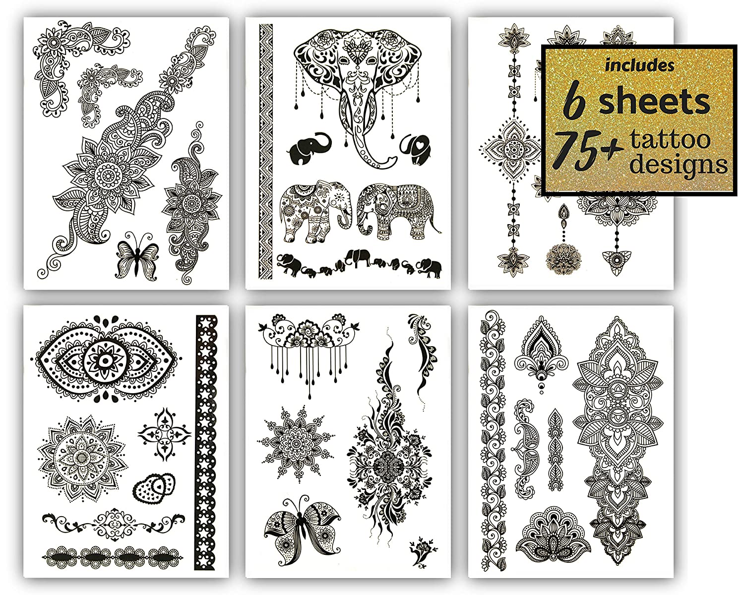 18fbecce8 Amazon.com : Mehndi Henna Temporary Tattoos Black - Over 50 Designs (6  Sheets) Terra Tattoos Giselle Collection : Beauty