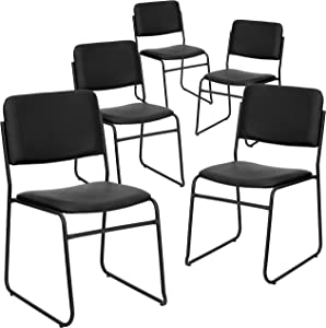 Flash Furniture 5 Pk. HERCULES Series 1000 lb. Capacity High Density Black Vinyl Stacking Chair with Sled Base