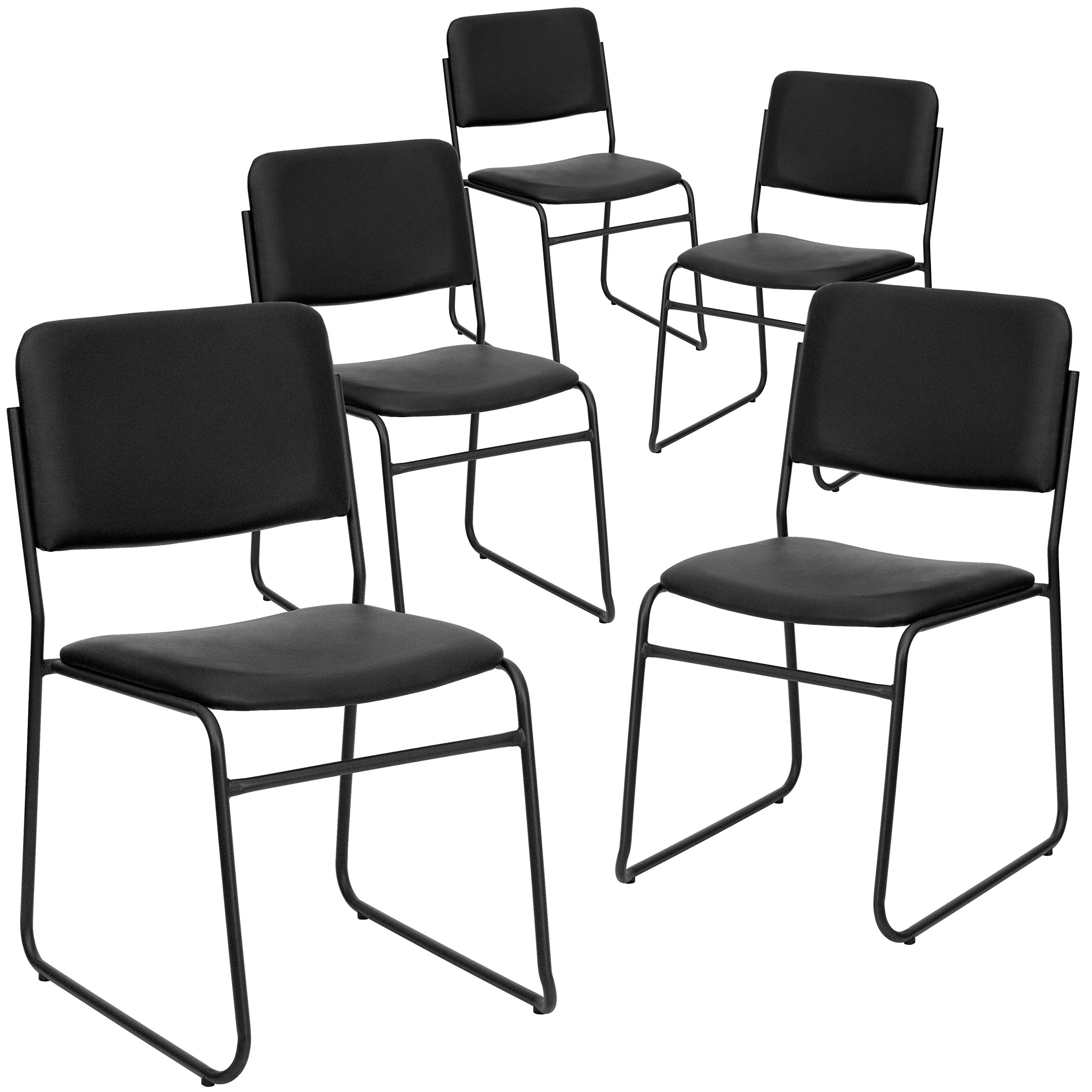 Flash Furniture 5 Pk. HERCULES Series 1000 lb. Capacity High Density Black Vinyl Stacking Chair with Sled Base by Flash Furniture