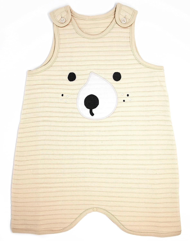 ttasom Baby Organic Cotton Quilted Sleeping Vest Unisex - Bear Beige